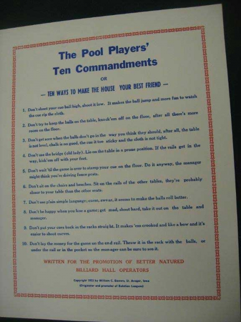 The Pool Player S 10 Commandments Poster Classic Billiards