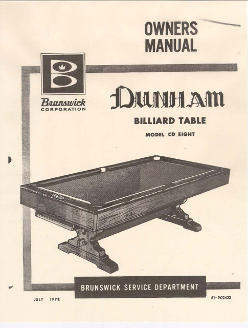 Brunswick Dunham Service Manual Copy - Brunswick dunham pool table