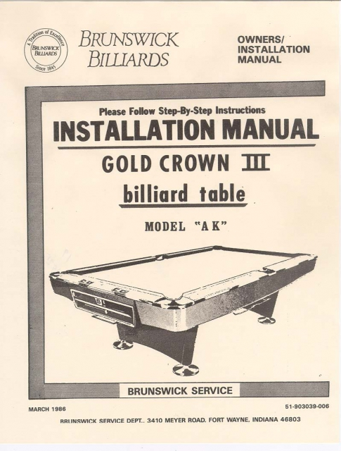 Brunswick Gold Crown Manual Copy - Brunswick dunham pool table