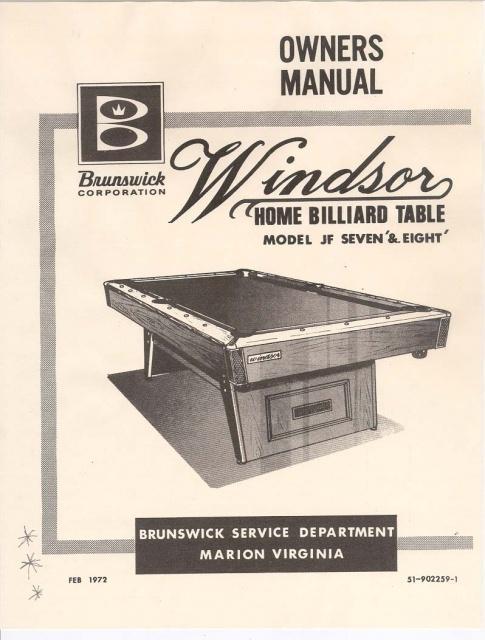 Brunswick Windsor Service Manual Copy - Brunswick windsor pool table