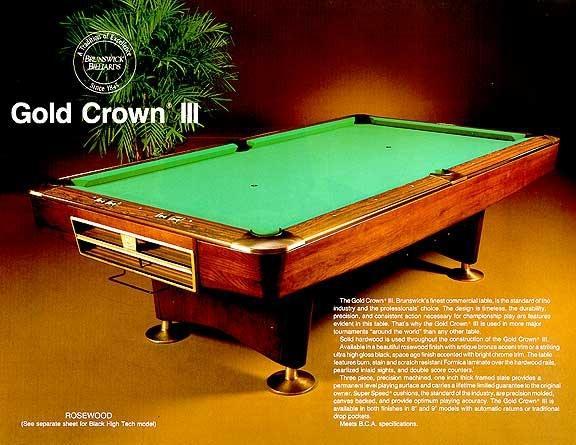 Gold Crown III Print - Brunswick gold crown pool table