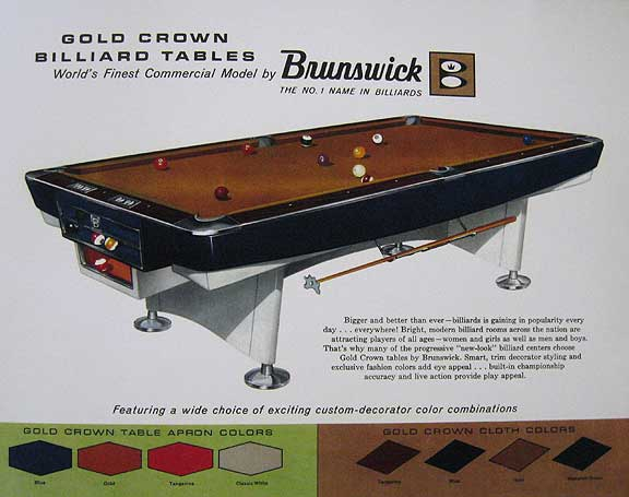 Brunswick Handout Gold Crown S - Brunswick gold crown pool table for sale