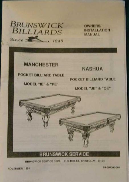 ManchesterNashua Service Manual Copy - Brunswick manchester pool table