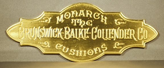 Reproduction Of Antique Brunswick Nameplate Stamped In