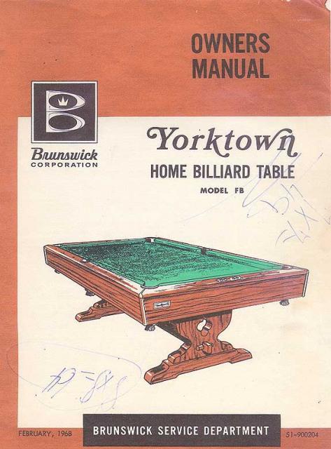 Yorktown Home Billiard Table Manual 1968 Copy