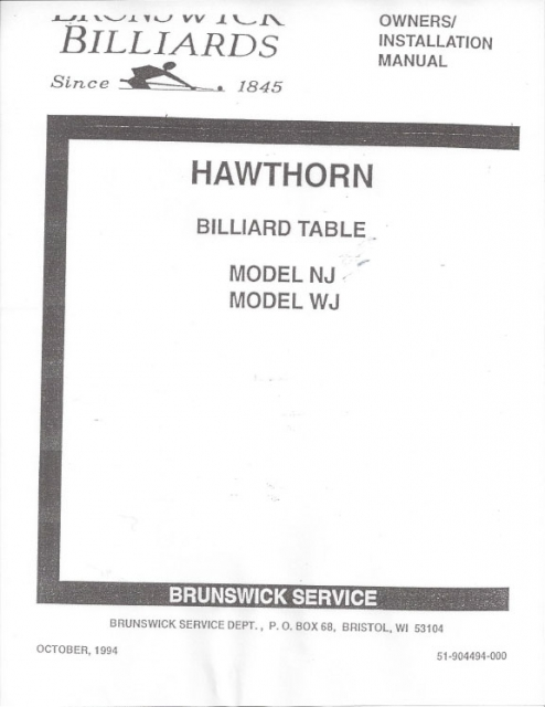 Admirable Hawthorn Billiard Installation Manual Models Nj Wj 1994 Copy Download Free Architecture Designs Scobabritishbridgeorg