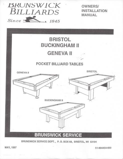 Bristol Buckingham Geneva Ii Pocket Billiard Installation