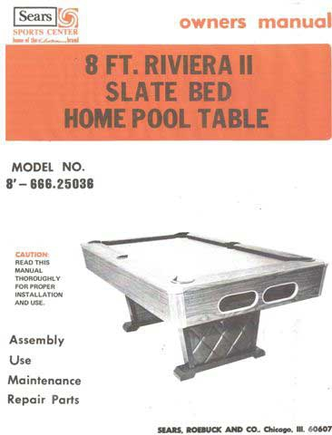Sears 20 Page Manual For Riviera II Model Tables