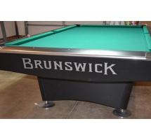 Three piece quality reproduction decal 'Brunswick Est . 1845' for Gold Crown tables (silver letters)
