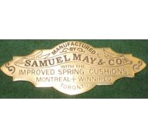 Samuel May (Canada) Solid Brass Nameplate
