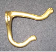 Solid brass hook for inside cue and coat closets, 3x3 inches