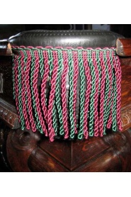Black Leather Pockets (#6 irons) with burgundy & green fringe