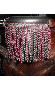Black Leather Pockets (#3 irons) with burgundy & green fringe