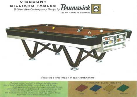 Copy Of Brunswick Hand Out Of Viscount Table 1960s